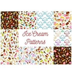 Ice cream seamless patterns vector image vector image
