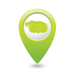 mask symbol on green map pointer vector image vector image