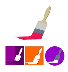 Paint brush flat icon set vector image vector image