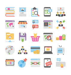 seo and digital marketing colored icons 5 vector image