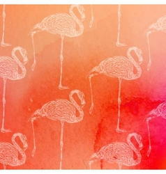 vintage of pink flamingos pattern on the vector image