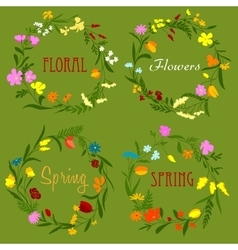 Floral border frames with wildflowers and herbs vector image
