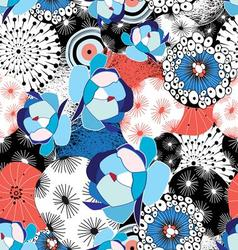 graphic beautiful pattern of flowers and abstract vector image vector image