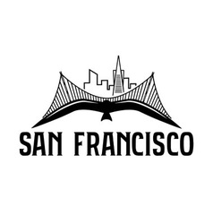 skyline of San Francisco and seagull design vector image vector image