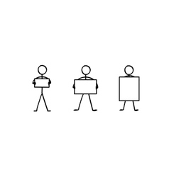 Stick figures with a sign plate set vector image