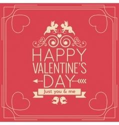 Valentines Day Border Vintage Poster Background vector image vector image