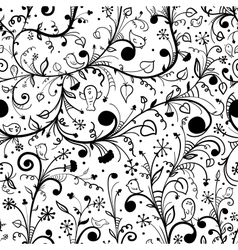 Black-white floral seamless pattern vector image