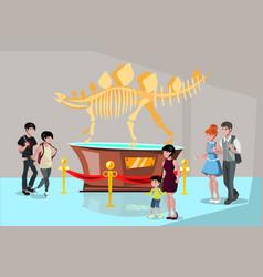 group people watching tyrannosaurus dinosaur vector image vector image