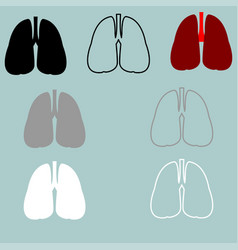 lungs red black grey white icon vector image