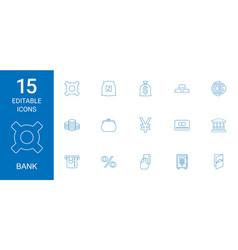 15 bank icons vector image