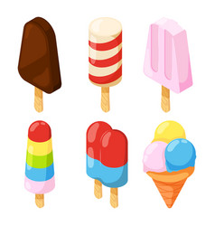 3d icecream isometric pictures vector image
