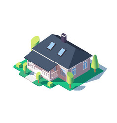 3d isometric large cozy one story house with green vector image