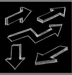 arrows isometric hand drawn sketch on black vector image