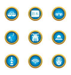 asian way of life icons set flat style vector image