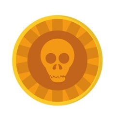 Aztec gold coin skull icon vector
