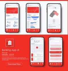 Banking app ui kit for responsive mobile app vector