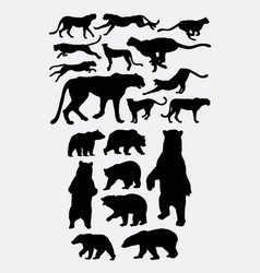 Bear and cheetah silhouette vector