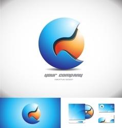 Blue orange 3d sphere logo icon design vector image