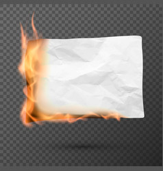 burning piece of crumpled paper crumpled empty vector image