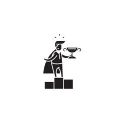 business leader winner black concept ico vector image