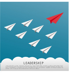 Business leadership concept with red paper plane vector