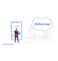 business man using gps navigation mobile vector image