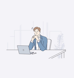 businessman during work planning concept vector image