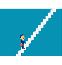 businessman move up ladder concept cute business vector image