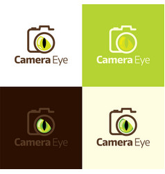 camera and wild animal eye logo and icon vector image