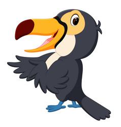 cartoon bird toucan twittering vector image