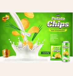 Chips ads onions in pouring sour cream background vector