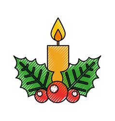 christmas candle flame leaf holly berry decoration vector image