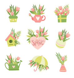collection bouquets pink flowers hello vector image