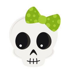 cute cartoon skull isolated on white background vector image