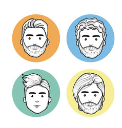 Cute men face with hairstyle and expression vector