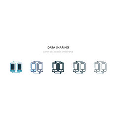 data sharing icon in different style two colored vector image
