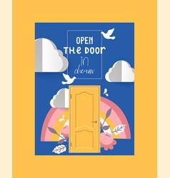 door in sky poster banner vector image