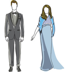 drawn man in suit and woman wearing blue dress vector image