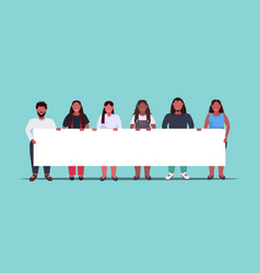 fat overweight people group holding empty placard vector image