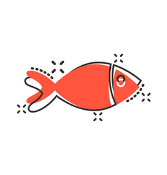 fish sign icon in comic style goldfish cartoon on vector image