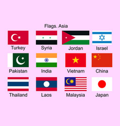 flags of asian countries turkey pakistan syria vector image
