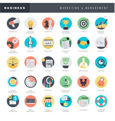 flat design icons for business and marketing vector image
