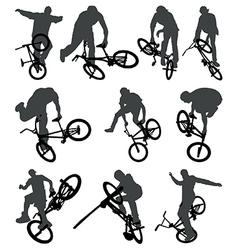 Flatland BMX silhouettes vector image vector image