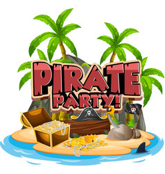 font design for word pirate with gold vector image