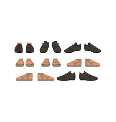 footwear set male or female stylish shoes cartoon vector image