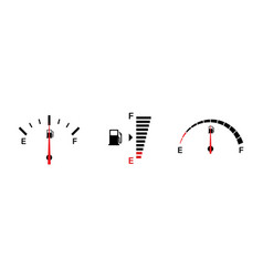 Fuel gauge indicators isolated icons gasoline vector