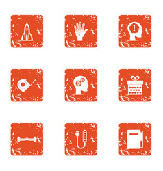 Future strategy icons set grunge style vector