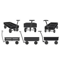 Garden cart black on white vector