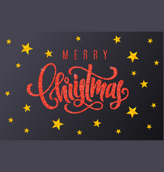 gift card with red hand lettering merry christmas vector image