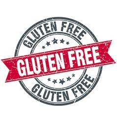 Gluten free red round grunge vintage ribbon stamp vector